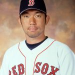 2001:  Boston Red Sox pitcher Hideo Nomo poses for a headshot. Nomo played for the Red Sox for one season in 2001.  (Photo by Boston Red Sox)